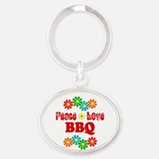 Peace Love BBQ Oval Keychain