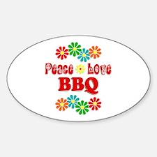Peace Love BBQ Sticker (Oval)
