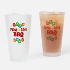 Peace Love BBQ Drinking Glass