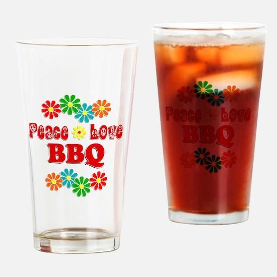 Peace Love BBQ Drinking Glass