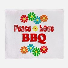 Peace Love BBQ Throw Blanket