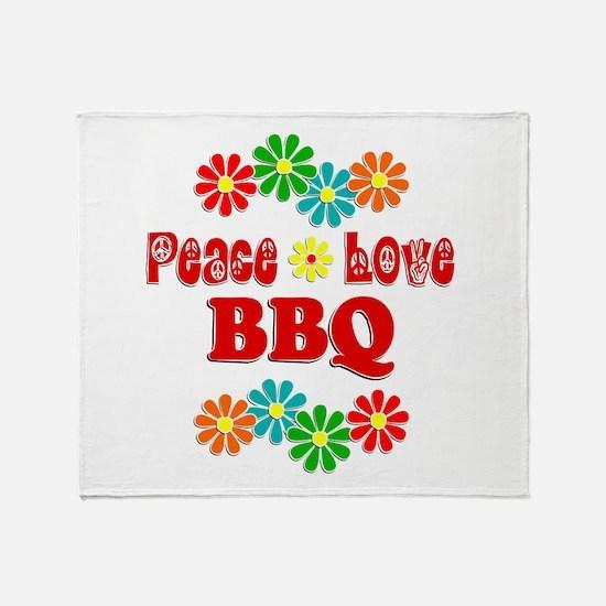 Peace Love BBQ Throw Blanket