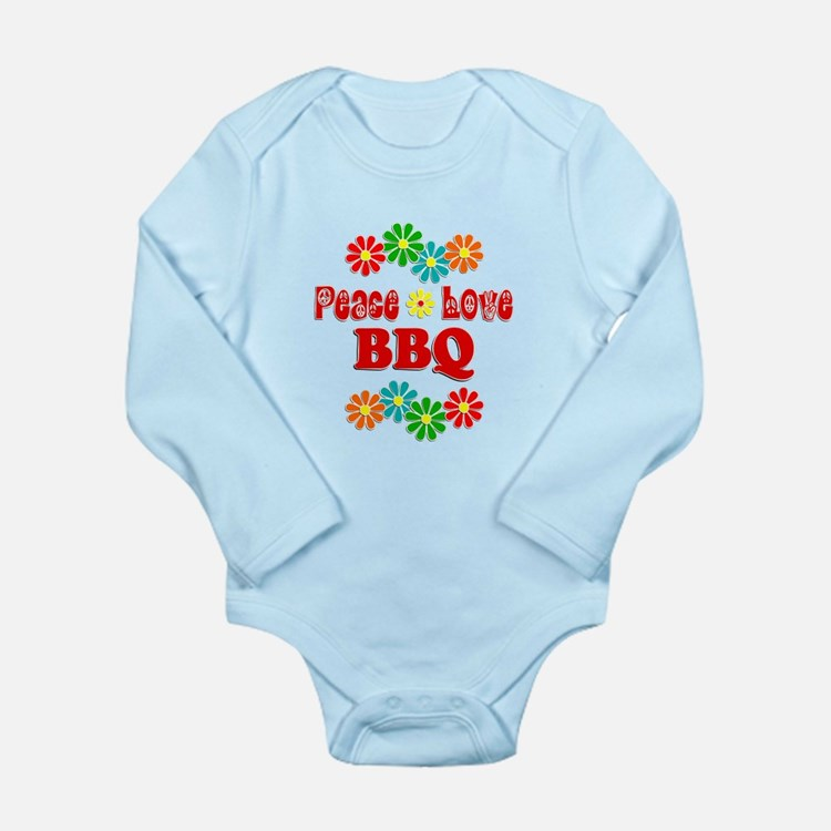 Peace Love BBQ Long Sleeve Infant Bodysuit