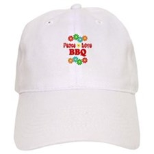 Peace Love BBQ Baseball Baseball Cap