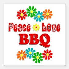 "Peace Love BBQ Square Car Magnet 3"" x 3"""