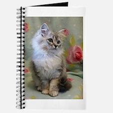 Silver Siberian Kitten sitting floral blan Journal