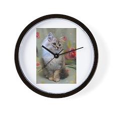 Silver Siberian Kitten sitting floral b Wall Clock
