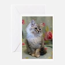 Silver Siberian Kitten sitting flor Greeting Cards