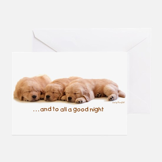 "Golden Retriever ""All A Good Night"" Greeting Cards"