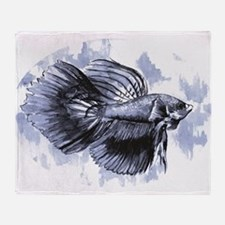 Blue Betta Fish Throw Blanket