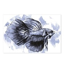 Blue Betta Fish Postcards (Package of 8)
