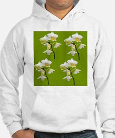 white orchid flowers in green. Hoodie