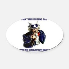 Uncle Sam Flipping The Bird Oval Car Magnet