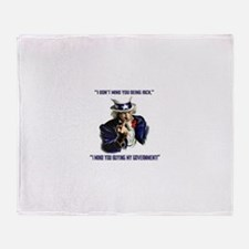Uncle Sam Flipping The Bird Throw Blanket