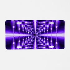 Trippy Purple Plaid Aluminum License Plate