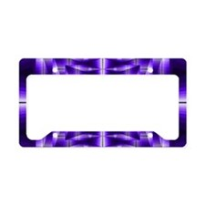 Trippy Purple Plaid License Plate Holder