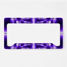 Trippy Purple Plaid License Plate Holder