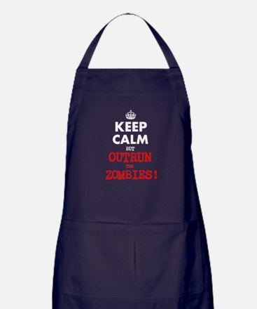 KEEP CALM but OUTRUN the ZOMBIES BBQ Apron (dark)
