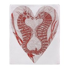 Red Seahorse Heart Throw Blanket