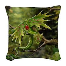 Ruby Leaf Dragon Woven Throw Pillow