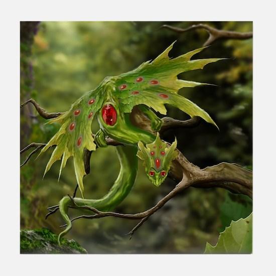 Ruby Leaf Dragon Tile Coaster