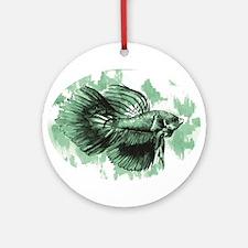 Teal Betta Fish Ornament (Round)