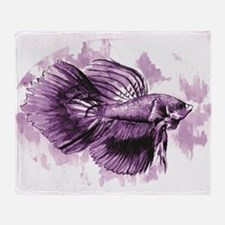 Purple Betta Fish Throw Blanket