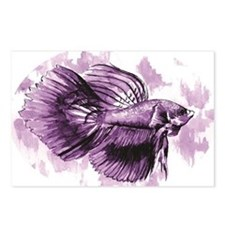 Purple Betta Fish Postcards (Package of 8)