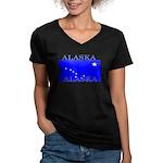 Alaska State Flag Women's V-Neck Dark T-Shirt