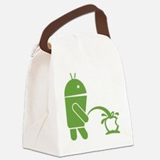 Android pissing on Apple. Canvas Lunch Bag
