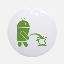 Android pissing on Apple. Round Ornament