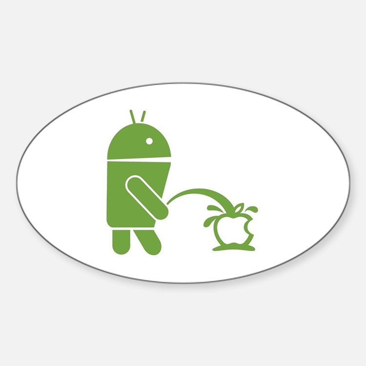 Android pissing on Apple. Sticker (Oval)