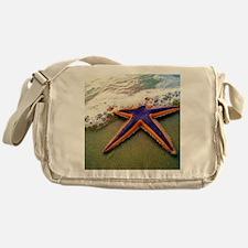 Blue Starfish At The Beach Messenger Bag