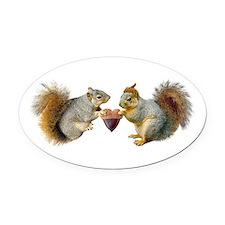 Squirrels Acorn Heart Oval Car Magnet