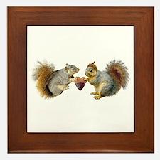 Squirrels Acorn Heart Framed Tile