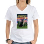 Blessed to be Free Black Lab Women's V-Neck T-Shir