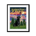 Blessed to be Free Black Lab Framed Panel Print