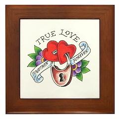 True Love Hearts Locked Toget Framed Tile