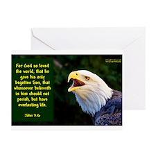 Talking Eagle (Left) - John 3:16 Greeting Cards