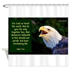 Talking Eagle (Left) - John 3:16 Shower Curtain