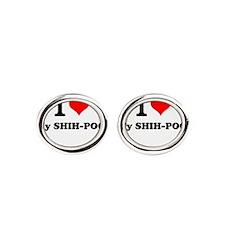 I Love My SHIH-POO Oval Cufflinks