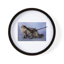 siberian spotted tabby cat Wall Clock