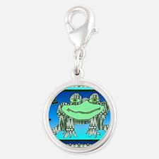 Argyle frog Silver Round Charm