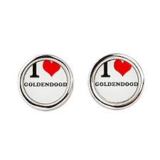 I Love My GOLDENDOODLE Round Cufflinks