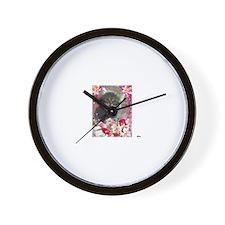 cute brown tabby siberian kitten face f Wall Clock