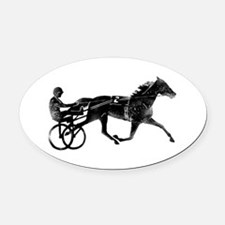Cute Horse racing Oval Car Magnet