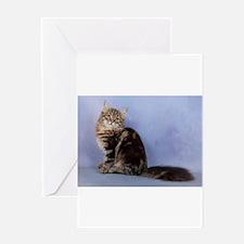 cute siberian tabby cat sideways Greeting Cards