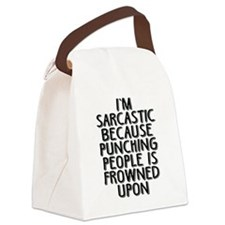 Sarcasm vs Punching Canvas Lunch Bag