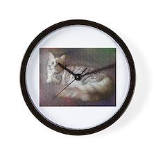 silver siberian cat laid on cushion Wall Clock