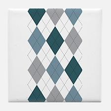 Blue and White argyle Tile Coaster